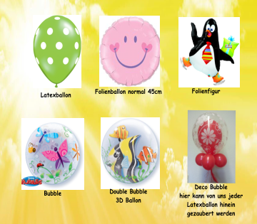 Latexballon Folienballon normal 45cm Folienfigur Bubble Double Bubble 3D Ballon Deco Bubble hier kann von uns jeder Latexballon hinein  gezaubert werden
